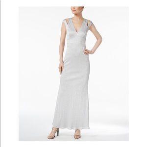 CALVIN KLEIN Womens Silver Metallic Evening Dress
